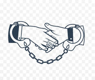 Icon bribery as the concept. Of the fight against corruption. Two hands bound by handcuffs bribe each other Royalty Free Stock Photos