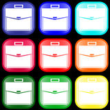 Icon of a briefcase on buttons. Icon of a briefcase on shiny buttons. Vector illustration Royalty Free Stock Images