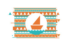 Icon bright triangle colorful with grunge effect. Bright triangle with grunge effect icon wave ship Royalty Free Stock Photography