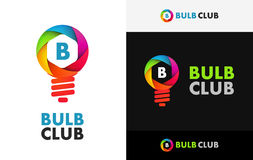 Icon of Bulb of Colorful Shutter. Photography Logo of Bulb of Colorful Shutter, Vector Illustrations with captions isolated on white and black Royalty Free Stock Photography
