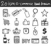Icon business e-commerce shopping  hand drawn line art illustration Royalty Free Stock Photography