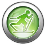 Icon, Button, Pictogram Cross-Country Skiing. Icon, Button, Pictogram with Cross-Country Skiing symbol Royalty Free Stock Photos