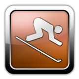 Icon, Button, Pictogram Downhill Skiing. Icon, Button, Pictogram with Downhill Skiing symbol Royalty Free Stock Images