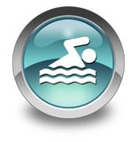 Icon, Button, Pictogram Swimming. Icon, Button, Pictogram with Swimming symbol Stock Images