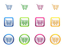 Icon button for shopping cart. 3-Dimensional High Quality Sphere Icon button for shopping cart vector illustration