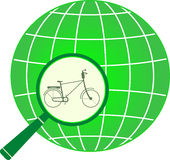 Icon with bycicle in magnifier on planet Stock Images