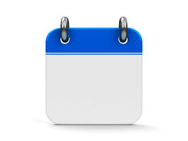 Icon calendar. Blank calendar icon, three-dimensional rendering Royalty Free Stock Images