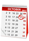 Icon calendar for Halloween 2017. Icon in the form of a calendar for Halloween Royalty Free Stock Photos