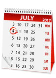 Icon calendar for July 4 2017 Stock Image
