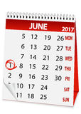 Icon calendar for June 1 2017 Royalty Free Stock Image