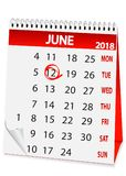 Icon calendar for June 12 2018. Icon in the form of a calendar for June 12, Russia day 2018 Stock Photo