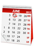 Icon calendar for June 12 2017. Icon in the form of a calendar for June 12, Russia day Royalty Free Stock Photos
