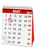 Icon calendar for May 9 2017 Stock Images