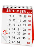 Icon calendar for September 1 2017 Royalty Free Stock Image