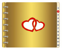 Icon calendar with two entwined hearts. Royalty Free Stock Photo