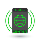 Icon Call Center. Logo green globe inside vertical mobile phone Stock Photos