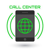 Icon call center. Logo, green globe, mobile phone, sound waves Royalty Free Stock Photos