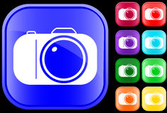 Icon of camera. On shiny square buttons Vector Illustration