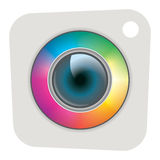 Icon camera eye-con. Colorfull unique camera icon like an eye Royalty Free Stock Images