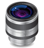 Icon for camera lens. White background. Vector saved as eps-10, file contains objects with transparency Stock Images