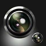 Icon of the camera lens. Photo camera lens icon on black background Stock Photo