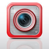 Icon camera, metal structure, red case. Royalty Free Stock Images