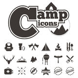 Icon camping vector on white background Royalty Free Stock Images