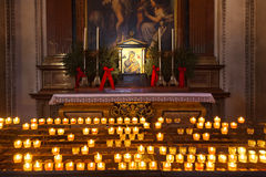 Icon and candles in cathedral at Salzburg Austria Royalty Free Stock Images