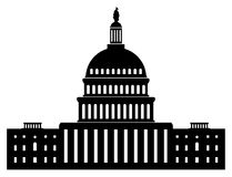 Icon of capitol building washington dc american congress, vector. Black and white icon of capitol building washington dc american congress, vector stock illustration
