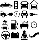 Icon car. Icons on the theme of the car and vehicles in black and white Royalty Free Stock Photo