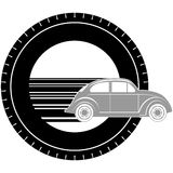 Icon with a car-1. Icon a passenger car on the background of the wheel. The illustration on a white background Royalty Free Stock Photo