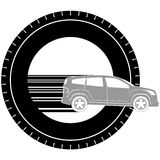 Icon with a car. Icon a passenger car on the background of the wheel. The illustration on a white background Stock Images
