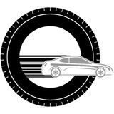 Icon with a car-2. Icon a passenger car on the background of the wheel. The illustration on a white background Royalty Free Stock Images