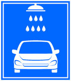 Icon with car washing. Blue icon with car washing and shower with water droplet Royalty Free Stock Photos