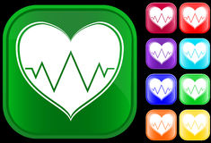 Icon of cardiogram. Icon of an electrocardiogram on shiny buttons Stock Illustration