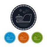 Icon  cargo ship, vector illustration Royalty Free Stock Photos