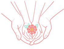 Icon of caring for a child. Concept of protection, caring for a child in the form of an adult hand holding a child`s hand and a flower in her hand. icon in the Stock Photos