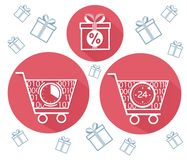 Icon  cart  on online store  flat. Icons of shopping carts and shopping, gifts in a flat style. The concept sale  in the store 24 hours Stock Photo