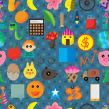 Icon Cartoon Cute Seamless Pattern Stock Image