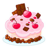 Icon cartoon delicious sponge cake with chocolate, jelly beans and cherries. Treat for the birthday. Stock Photos