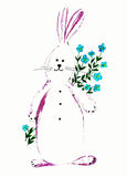 Icon cartoon Easter Bunny. Holiday stock illustration