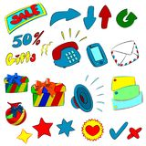 Icon cartoon. Set of colored icons on various themes Stock Photo