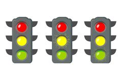 Icon cartoon traffic light. Signals with red light above yellow and green. Isolated on white background. Vector. Illustration Royalty Free Stock Images