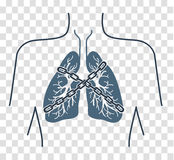 Icon chain-bound asthma. Icon of a patient with bronchial asthma in a linear style. The concept of the disease, In the form of lungs are chain-bound vector illustration