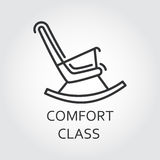 Icon of chair rocking in outline style. Comfort class concept. Icon of chair rocking. Comfort class concept. Simple mono black line label of high convenient Royalty Free Stock Photo