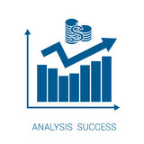 Icon chart analysis success blue Royalty Free Stock Images