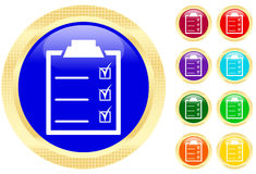 Icon of checklist. On shiny buttons Stock Photography