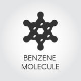 Icon of chemical model of benzene molecule. Organic compound C6H6. Aromatic hydrocarbon black flat logo Royalty Free Stock Photo