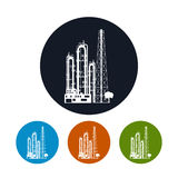 Icon of a chemical plant or refinery processing , Stock Photography