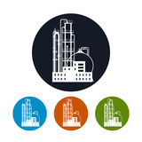 Icon of a chemical plant or refinery processing , Royalty Free Stock Photos